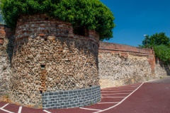 Medieval bastion in the Roman wall