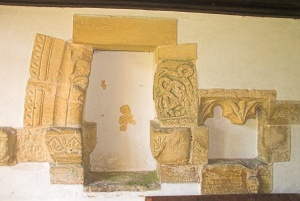Carved stone fragments, south porch