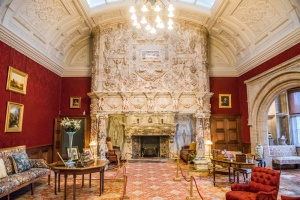 The drawing room and Italian marble fireplace