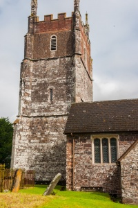 The 13th-17th century tower of Holy Cross church