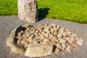 Another of the cairns, inside the circle of standing stones