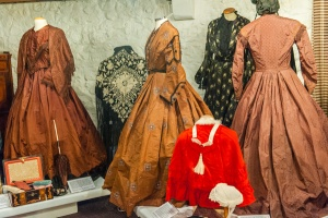 Victorian dresses on display