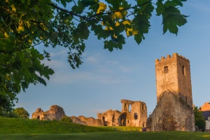St Hilary with Denbigh Castle beyond