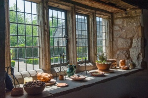 17th century mullioned windows in the kitchen