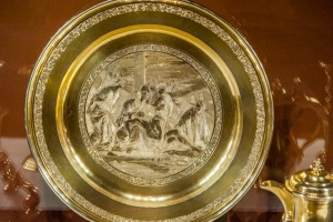 Golden plate on display
