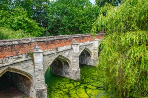 15th century bridge across the moat