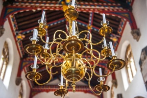 18th century brass chandelier in the nave