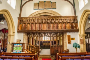 Looking east towards the chancel screen