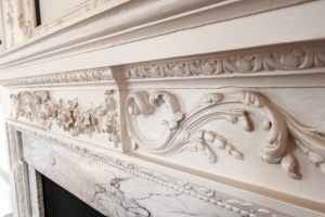 Plasterwork detail on a first floor fireplace