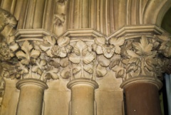 Stiffleaf style carved capitals