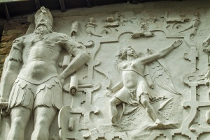 An ornate plasterwork frieze