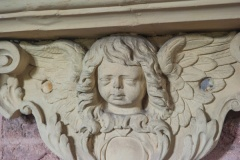 Cherub carving on Sara Colles memorial