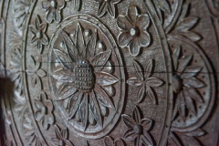 Carved 17th century panel, chancel