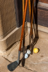 Hickory clubs ready for a round of golf