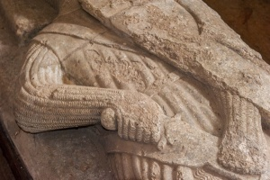 Close-up of the Sir Giles de Braose effigy effigy carving