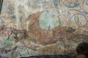 Medieval wall painting of a deer