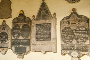 19th century memorials on the chancel wall