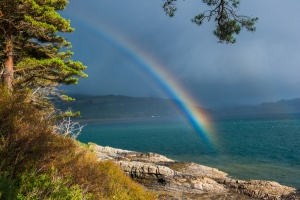 Rainbow over Loch Alsh from the gardens
