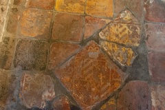 Medieval floor tiles by the rood stair