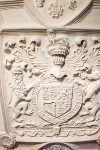 Plasterwork royal coat of arms in the Hall
