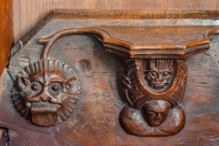 Misericord of woman, demon and lion