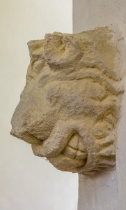 Medieval carving of a beast's head