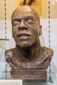 Bust of William Corder's head in the Red Barn Murder display