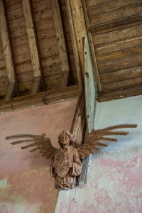 A beautifully carved angel with outstretched wings