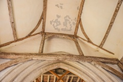 The chancel arch and roof timbers