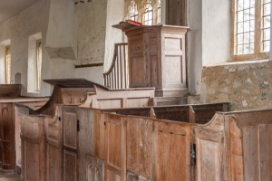 The Georgian box pews and pulpit