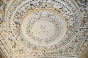 The plasterwork ceiling of the staircase hall