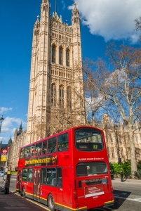 Victoria Tower and a London double-decker bus