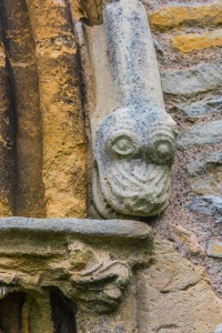 Dragon's head carving, west doorway arch