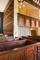 Box pews and gallery with panelling