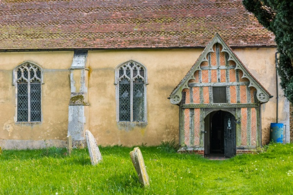 The timber-framed south porch of St George's church, Shimpling