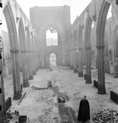 The interior of the cathedral after the WWII bombing