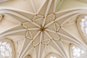The ornately vaulted ceiling