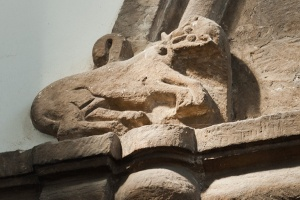 Carving on the tower arch