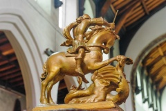 17th c St George carving on the font cover