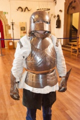 Trying on armour in the Great Hall