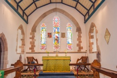 The barrel-vaulted chancel