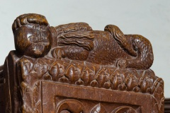Lion carving close-up