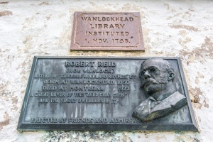 Commemorative plaque on the library exterior
