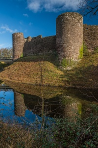 The castle reflected in the moat