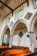15th century nave and Sawbridge hatchments