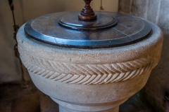Norman decorative carving on the font