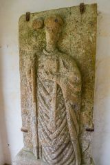 Abbotsbury, 12th century carving of an abbot inside St Nicholas church