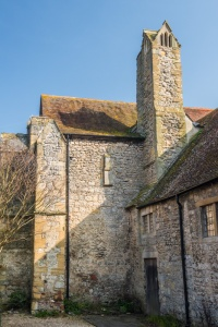 The 13th century Checker Hall and its striking chimney