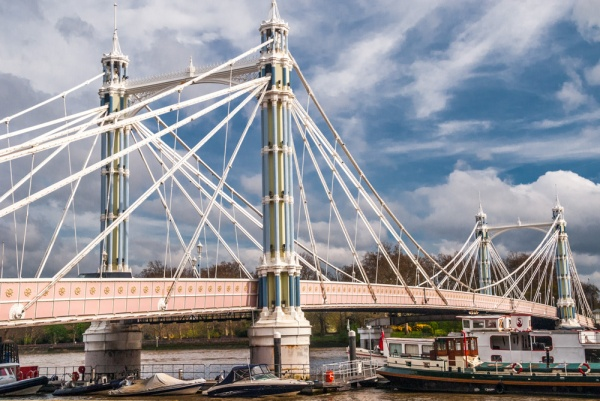 The Albert Bridge from the Chelsea bank