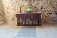 The altar and Henry Wicks grave slab